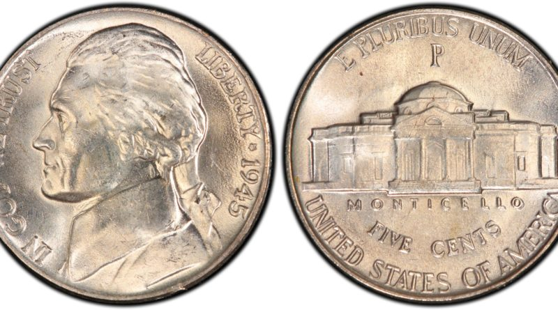 1945 Double Die Reverse Jefferson Nickel FS 801