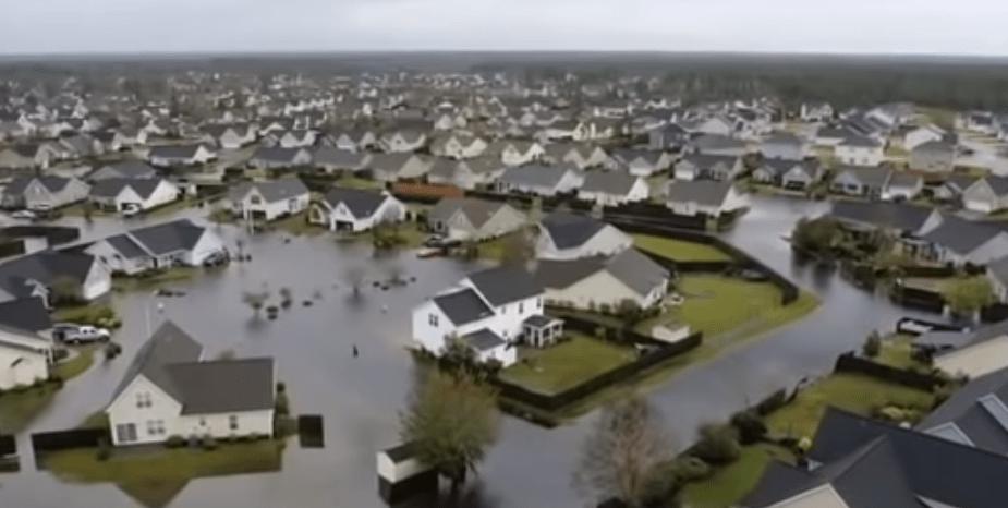 hurricane florence drone footage flooding