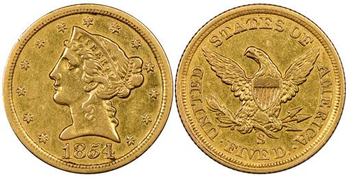 rare coin 1854 $5 gold coin