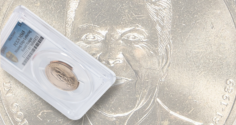 new coin discovery 2016 missing edge lettering error Ronald Reagan presidential dollar