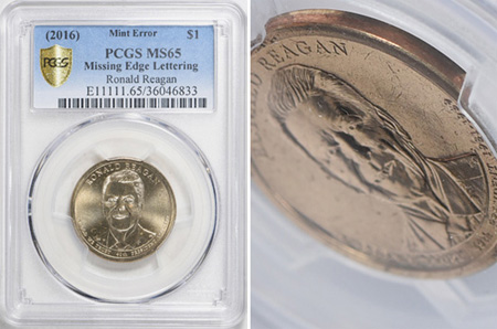 new coin discovery 2016 missing edge lettering error Ronald Reagan presidential dollar 5