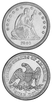 1860 Quarter price coin price