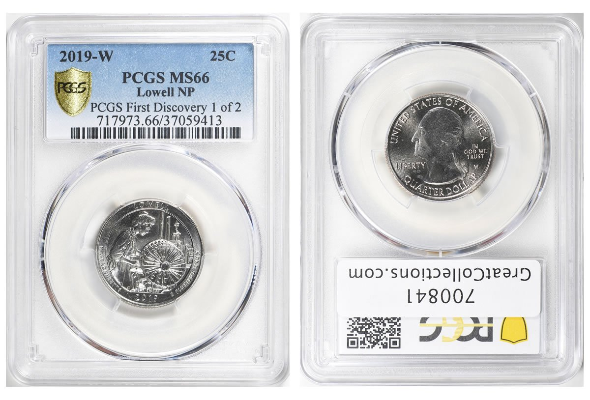 PCGS First Discovery 2019-W Lowell Quarter in GreatCollections Auction