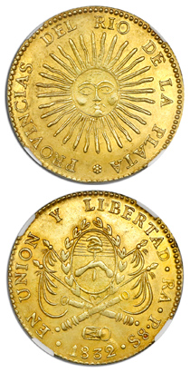 A rare early Argentinean gold coin in a remarkably high grade is coming up for auction May 2-3 as part of Daniel Frank Sedwick, LLC's Treasure, World, U.S. Coin & Paper Money Auction 25.