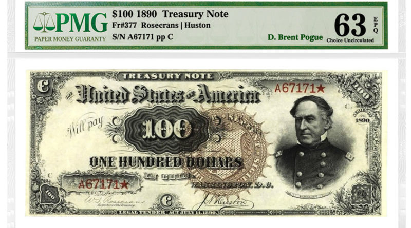 1890-Watermelon-100-Treasury-Note-Fr.-377-is-graded-PMG-63-Choice-Uncirculated-EPQ