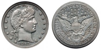 1915-Barber-Quarter dime melt values coin guides online