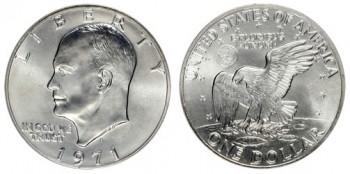 1971-Eisenhower-Dollar-silver melt values error coin price guide