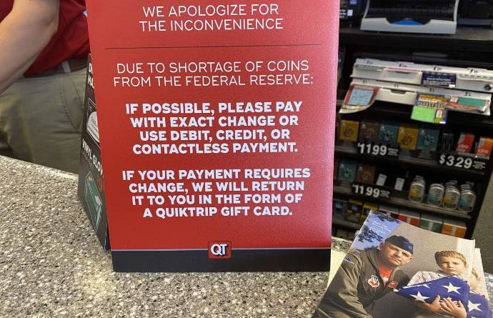 gas station buying coins during coin shortage due to coronavirus